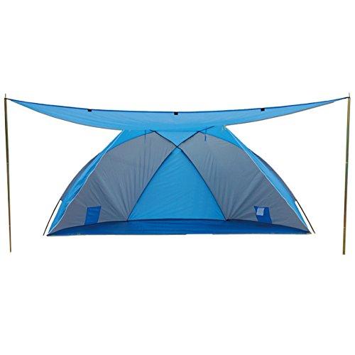 Explorer Strandmuschel mit Sonnendach Verschließbar, Blau/Grau
