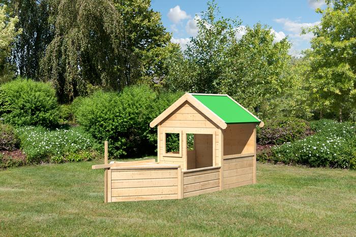 Kinderspielhaus Holz Natur Mit Sandkasten Und Pergola ~   als Shiff Karibu Kinderspielhaus Hobbit mit Pirat Set natur