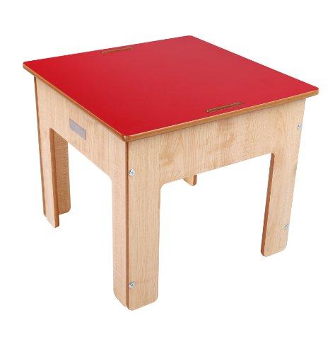 Little Helper Kinder Spiel- und Sandtisch mit umkehrbarer Kreidetafel, natur/rot