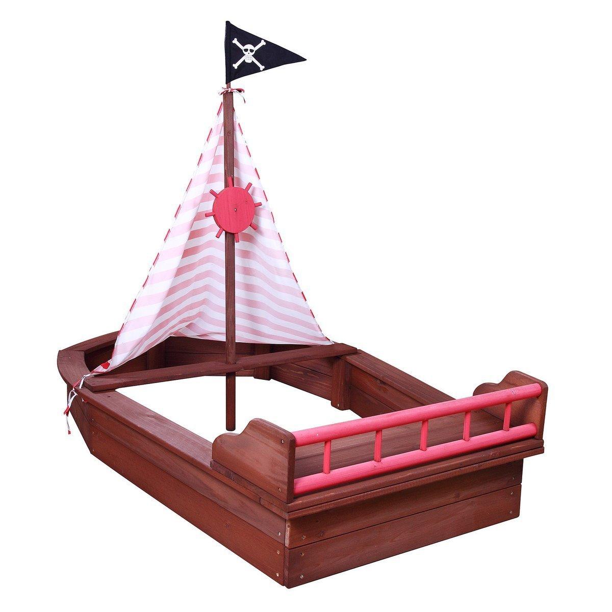 SUN Sandkasten Boot Pirat mit Sitzbank und Ruder