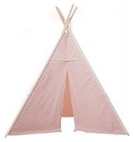 my teepee indianerzelt f r kinder ros mit wei en punkten. Black Bedroom Furniture Sets. Home Design Ideas
