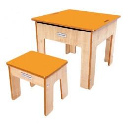 Little Helper Kinder Spiel- und Sandtisch mit umkehrbarer Kreidetafel, natur/orange