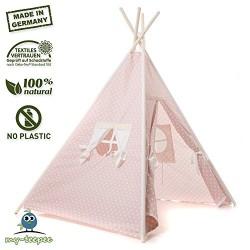 my-teepee Indianerzelt für Kinder rosè mit weißen Punkten